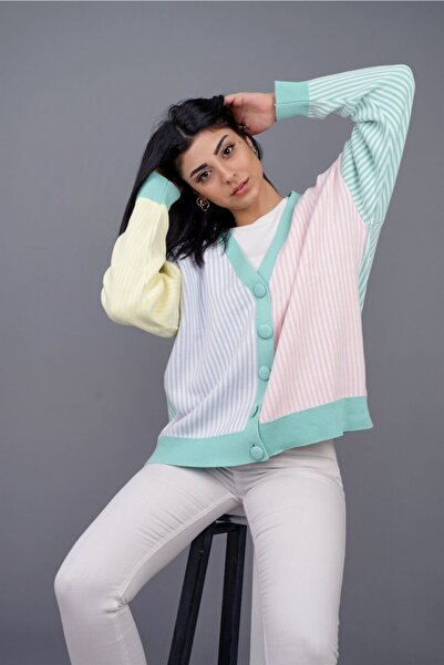 LOCCO Kadın  Cıft Renk Cızgılı Hırka