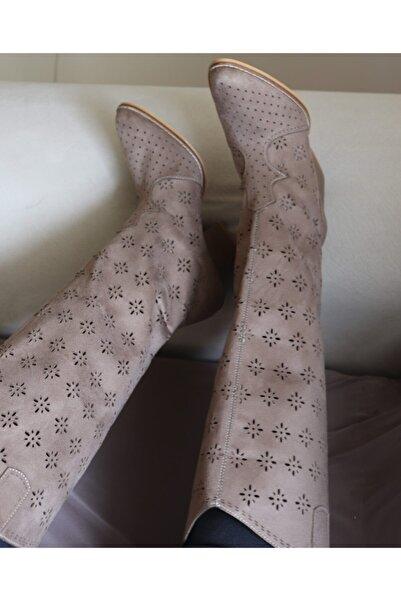 Eldora Shoes Vizon Yazlık Uzun Çizme