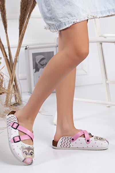 meyra'nın ayakkabıları Beyaz Mini Baskılı Terlik