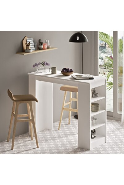 Yurudesign Style Bar Masası Mutfak Yemek Masası Beyaz St1-w