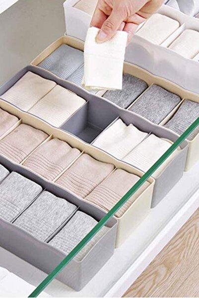 FERHOME Çekmece Içi Düzenleyici Organizer 4 Adet 5 Gözlü Çorap Kravat Saklama Kutusu Hurç Sepet