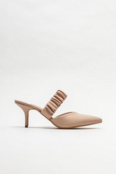 Elle Shoes Bej Kadın Topuklu Terlik
