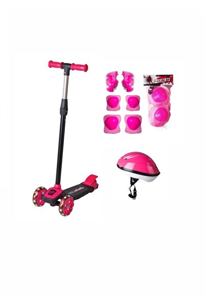 Cool Wheels Kız Çocuk Pembe Led Işıklı 3 Tekerlekli Twist Scooter Full Set