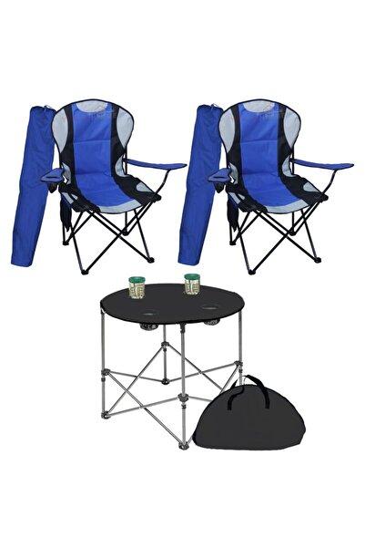 Yekta Home Megatex Kamp Seti Büyük Kamp Sandalyesi + Bez Masa 2+1