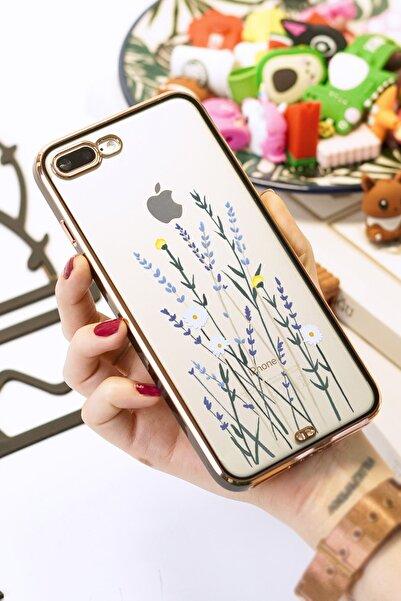 Spoyi Iphone 7 Plus / 8 Plus Soft Lavenders Tasarımlı Siyah Premium Telefon Kılıfı