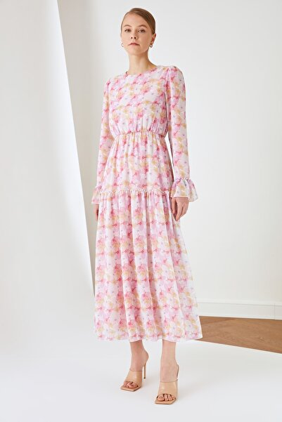 Trendyol Modest Ekru Desenli Şifon Elbise TCTSS21EL3471