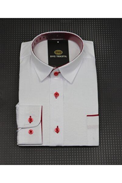 DYG Erkek Çocuk Beyaz Kırmızı Detaylı Gömlek