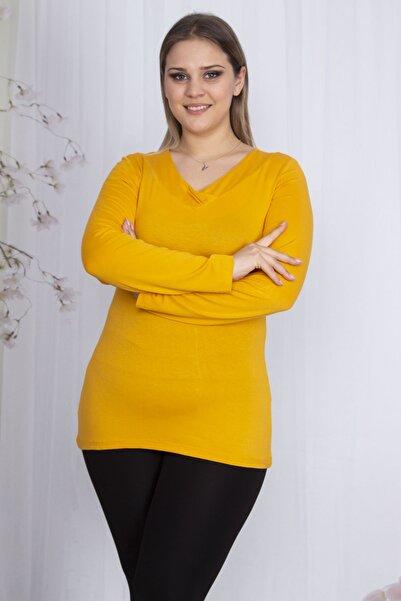 Şans Kadın Sarı Yaka Detaylı Bluz 65N23585