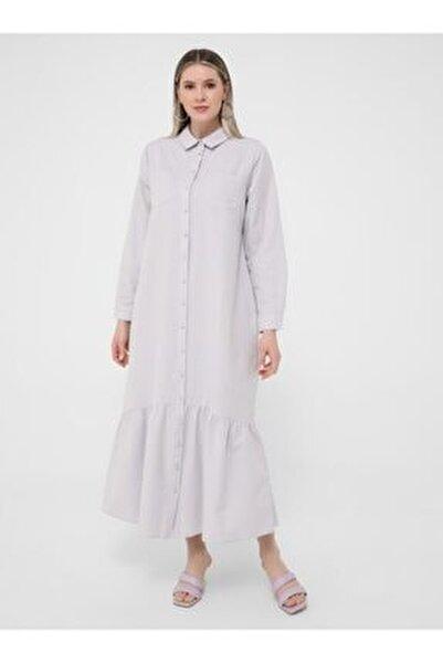 Kadın  Soft Lila Büyük Beden Boydan Düğmeli Elbise