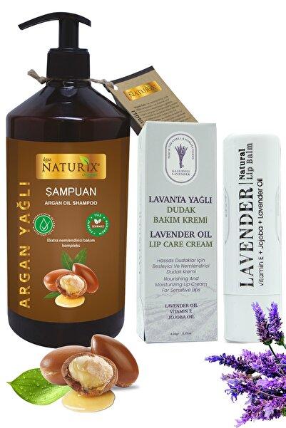 Ilgaz Naturix Organix Tuzsuz Argan Yağlı Şampuanı 600ml Onarıcı Bakım Şampuanı + Lavanta Yağlı Dudak Bakım Kremi