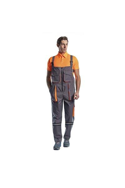 Endüstri Giyim Reflektörlü, Askılı Bahçıvan Tulum, Gri/turuncu, Iş Elbisesi Iş Güvenliği