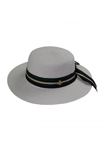Bay Şapkacı Kadın Şeritli Hasır Şapka 3853 Beyaz