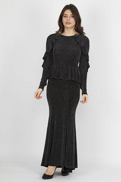 Şans Kadın Gümüş Volan Ve Sim Detaylı Elbise 26A13660