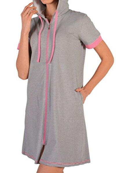 Tunik Ev Elbisesi Kısa Kollu Fermuarlı Kapüşonlu