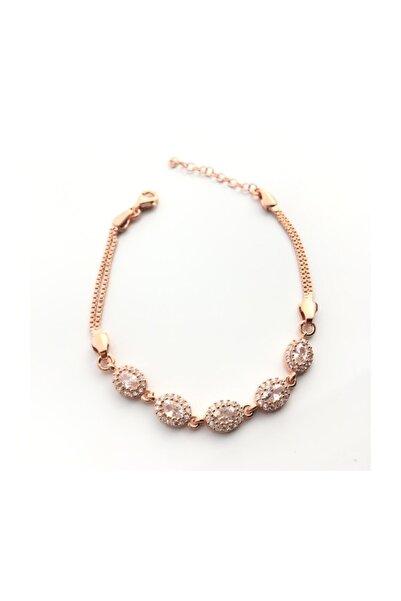 Afrodit Silver 925 Ayar Gümüş Roz Kakpala Bayan Bileklik