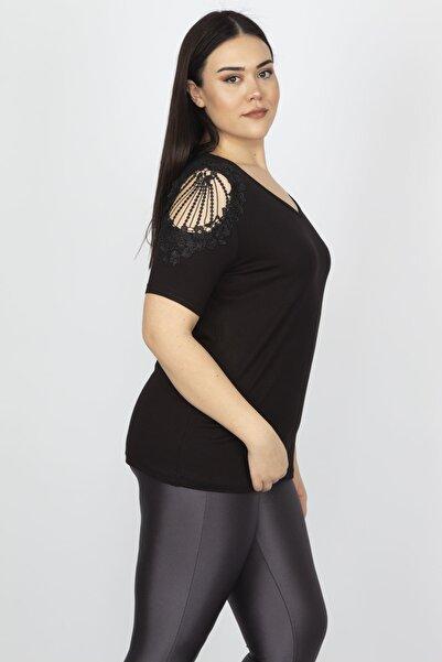 Şans Kadın Siyah Omuz Detaylı Viskon Bluz 65N15181