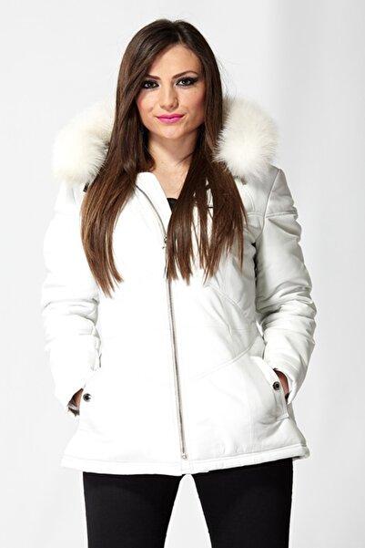Deriza Kadın Prina Beyaz Deri Ceket 2541