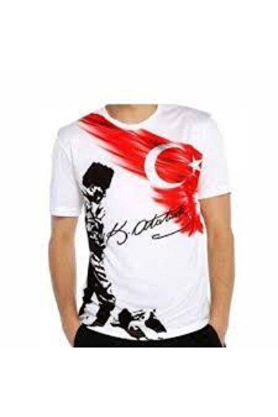 salarticaret Erkek Çocuk  Beyaz Atatürk Kocatepe ve Türkiye Bayrak Baskılı Tişört