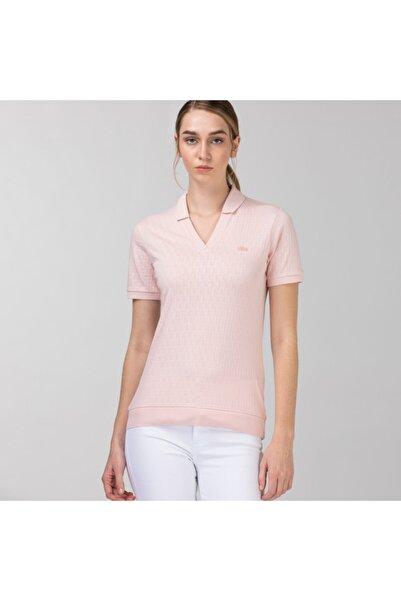 Lacoste Kadın Slim Fit Desenli Pembe Polo PF0110