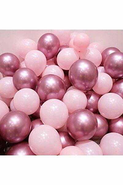 Parti dolabı Krom Pembe Ve Makaron (Pastel) Pembe Renk 15 Li Balon