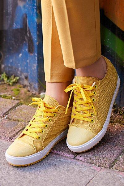 Sateen Gizli Topuklu Sneaker Ayakkabı - SARI-KETEN