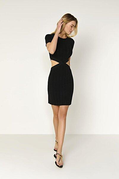 JOIN US Yarım Kol Bel Detaylı Triko Elbise-siyah