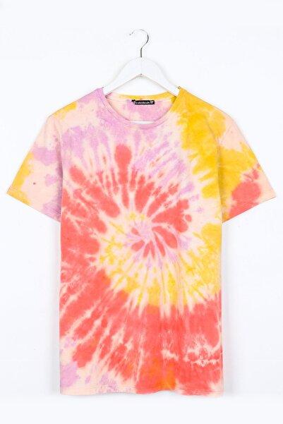 Sekizbiraltı Unisex Sarı Batik Yıkamalı T-Shirt