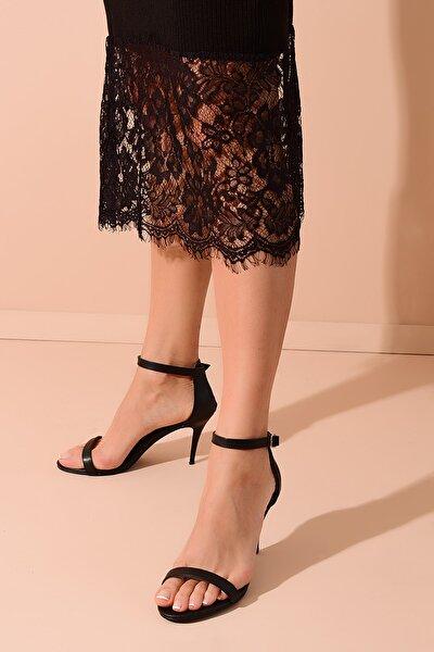 Shoes Time Siyah Deri Kadın Topuklu Ayakkabı 20Y 200