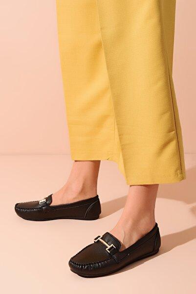 Shoes Time Siyah Deri Kadın Babet 20Y 408