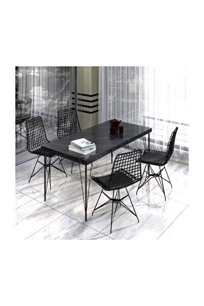 NEMSA METAL Mutfak Yemek Masa Takımı Mermer Desencafe Masası 4 Adet Tel Sandalye 1 Adet Masa