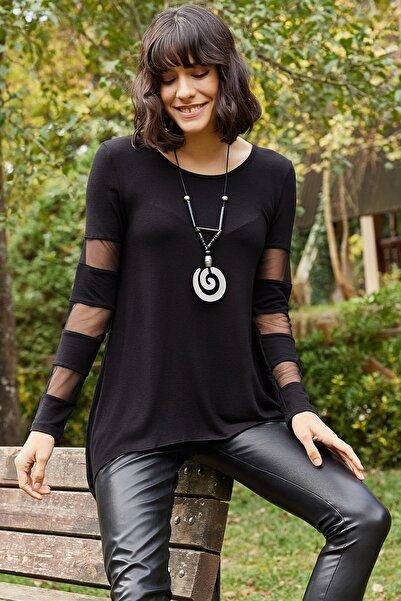 AQE FASHION Kadın Siyah Kolu Tül Detaylı Yuvarlak Yaka Bluz