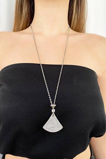 TAKIŞTIR Gümüş Renk Elbise Figürlü Taşlı Kolye