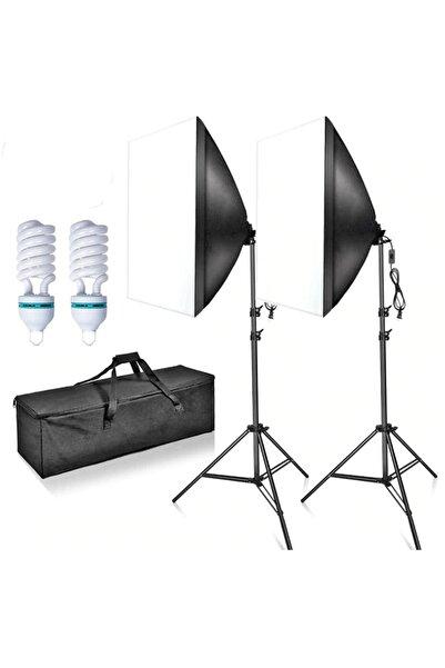 Deyatech Youtube Video Ve Fotoğraf 2li Softbox Seti Sürekli Işık Tek Duy Paraflaş Make Up  Çekimleri Lambalı