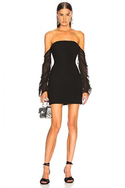 By Umut Design Kadın Siyah Toparlayıcı Etkili Büzgülü Tül Kollu Straplez Elbise 2217026