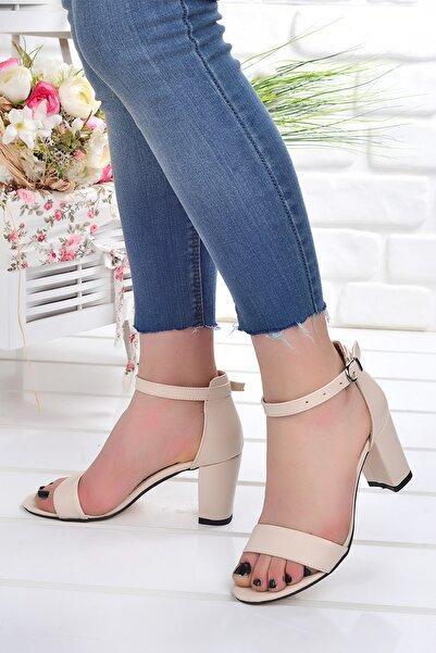 Ayakland Kadın Ten Renk Topuk Sandalet Ayakkabı 7 cm
