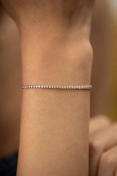İzla Design Su Yolu Model Rose Kaplama Gümüş Bileklik