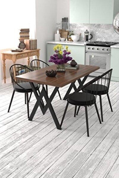 Eylül 4 Kişilik Mutfak Masası Takımı Ceviz Siyah