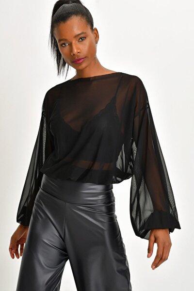 Quincey Kadın Siyah Tül Bluz