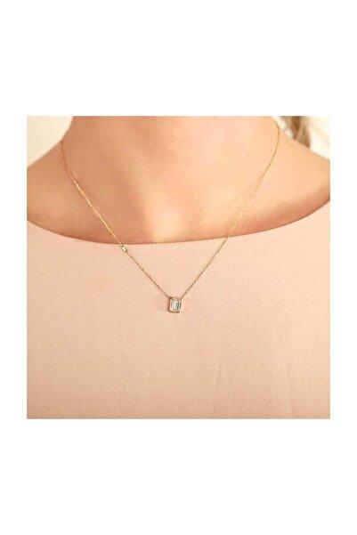 PinkGoldStore Baget Tohumlu Emerald Kesim 14 Ayar Altın Kolye