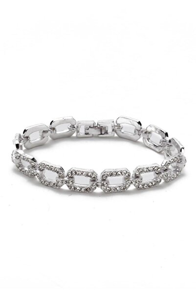 Modex Kadın Gümüş Rengi Baget Taşlı Bilekilk
