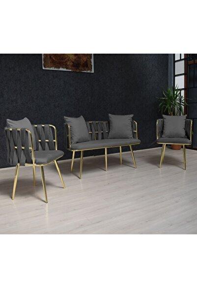 VIANEM Metal Balkon Mutfak Koltuk Takımı Çay Seti 2+1+1