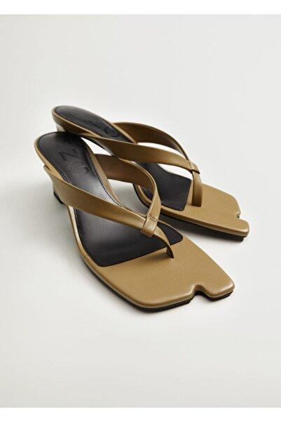 MANGO Woman Kadın Topuklu Deri Sandalet