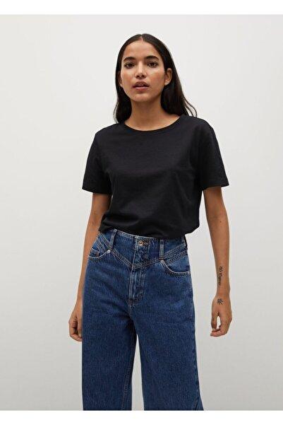MANGO Woman Kadın Siyah Organik Pamuklu Basic Tişört