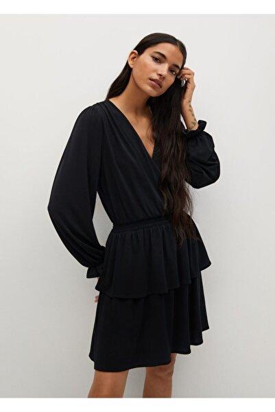 MANGO Woman Anvelop Yakalı Uzun Elbise