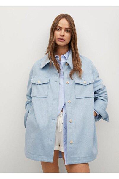 MANGO Woman Yün Karışımlı Geniş Kesim Gömlek Ceket
