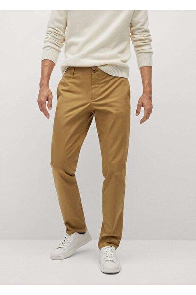 MANGO Man Erkek Kahverengi Dar Kesim Chino Pantolon