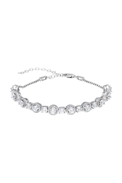 Tesbihane Starlight Diamond Pırlanta Montür Oval Tasarım 925 Ayar Gümüş Su Yolu Bileklik