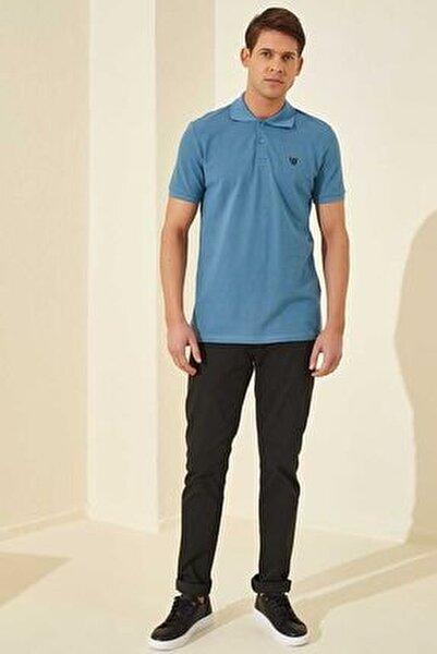 Klasik Polo Yaka Kirli Mavi Erkek Tshirt T08ER-87768