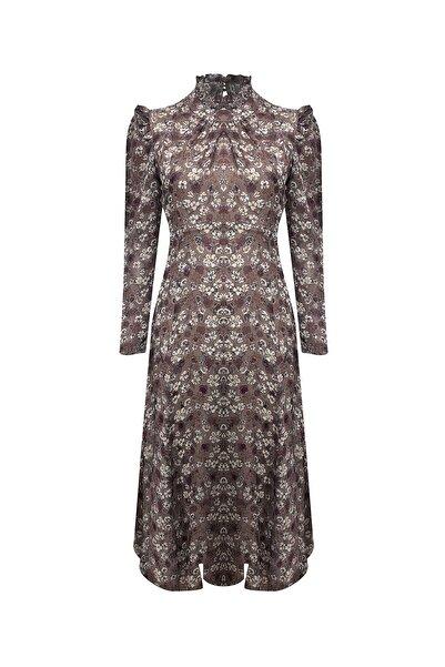 RİVUS Uzun Kollu Volanlı Desenli Şifon Elbise 7463