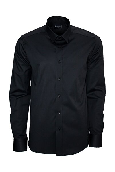 Cartellini Standart Fit Klasik Düz Siyah Gömlek C0049c